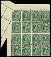 Lot 339:1942-50 1½d Green QE Wmk CofA upper-left marginal block of 16, corner unit, Largely imperforate at left, and small part at top, due to paper folds BW #226ba stamps MUH. This is not the piece mentioned in ACSC. Spectacular!.