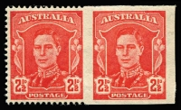 "Lot 344:1942-50 2½d Scarlet KGVI horizontal pair, variety Right unit imperforate, left unit imperforate at right BW #230ba, very fresh mint (imperforate unit MUH), Cat $12,500 - for variety in strip of 8, (SG #206a Cat £6,500 for variety in a pair). Ceremuga Certificate (2017) states ""Extremely rare..."""
