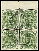 Lot 598 [1 of 3]:1949-50 Arms 5/- to £2 set BW #268-71 blocks of 4, fine used. (4 blocks)
