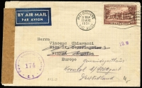 Lot 602:1950 Foundation of Commonwealth 1/6d red-brown solo franking on 1951 (Aug 13) airmail cover to Vienna with 'Osterreichische Zensurstelle/174/Z.1.' censor handstamp in violet, Vienna '21/VIII/51' backstamp, redirected to Stuttgart, Germany. Nice usage.