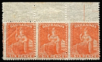 Lot 1386:1861-70 No Watermark Rough Perf 14-16 (6d) bright orange-vermilion SG #31 marginal strip of 3, fine mint, Cat £480+. Rare multiple.