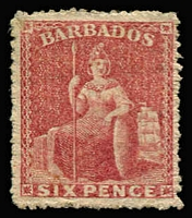Lot 1385:1861-70 No Watermark Rough Perf 14-16 (6d) rose-red SG #29, deep colour, fine mint, Cat £375.