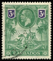 Lot 1390:1912-16 Seal 3/- green & violet SG #180, excellent centring, very fine used, Cat £120.