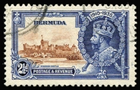 Lot 1398:1935 Silver Jubilee 2½d brown & deep blue variety 'Bird' by turret SG #96m, fine used with postmark well clear of flaw, Cat £325. Very scarce used.