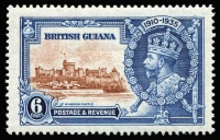 Lot 1403:1935 Silver Jubilee 6c brown & deep blue variety Dot by flagstaff SG #302h, fine mint, Cat £300.