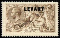 Lot 1407 [1 of 2]:1921 British Currency Optd 'LEVANT' 2d to 2/6d x2 (chocolate-brown & pale brown shades) SG #L18-L24 including 6d & 1/- shades, 4d nibbed perfs, generally fine mint, Cat £400+. (10)