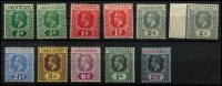 Lot 1411 [2 of 2]:1913-19 KGV Keyplates ½d to 5/- set SG #69-77, including ½d, 1d & 2d shades, fine mint, Cat £120+. (12)