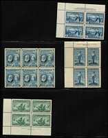 Lot 429 [2 of 7]:1946-1968 Mostly Imprint Blocks including 1946 7c Geese Air & 20c Harvester, 1950 10c Furs, 1956 20c & 25c Industry, etc, all fresh MUH. (120+ items )