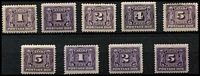Lot 1173 [2 of 2]:1906-28 1c to 10c set including 1c & 5c red-violet SG #D1-D8 (ex #D4) plus 1c, 2c & 5c Thin paper printings, fresh MLH/MVLH. Cat £300+. (10)