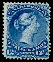 Lot 1499:1868-90 Large Heads Ottawa Printing Medium to Stout Wove Paper 12½c bright blue SG #60, perfs improved or reinforced (at left), regummed. Presents well, Cat £950.