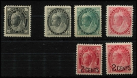 Lot 1502 [2 of 2]:1897-1899 Maple Leaves mint selection with 4-Corners ½c black mint, 2-Corners ½c black, 1c blue-green, 3c rose-carmine & 7c greenish-yellow all MUH; also 1899 both 2c on 3c Surcharges MUH, Cat Cat £250+. (7)