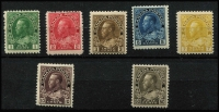 Lot 846 [2 of 2]:1911-12 KGV Perf 12 1c to 50c sepia set of 8 between SG #197-215 including 10c brownish-purple (hinge remnant), several lower values MUH, Cat £275. (8)