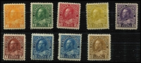 Lot 1503 [2 of 2]:1922-31 KGV New Colours Perf 12 1c to $1 set SG #246-55, fine mint with 1c to 4c MUH, Cat £130+. (10)
