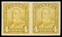 Lot 1423:1928-29 KGV Perf 12 4c olive-bistre SG #278 variety Imperforate pair, see Gibbons footnote, fine mint, Cat £110.
