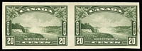 Lot 1426:1935 Pictorials Perf 12 20c Niagara Falls SG #349, variety Imperforate pair, see Gibbons footnote, fine mint, Cat £300.