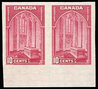 Lot 1428:1937-38 Pictorials Perf 12 10c Memorial Chamber SG #363, variety Imperforate marginal pair, see Gibbons footnote, fine mint, Cat £700.