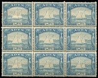 Lot 4 [2 of 3]:Aden 1937 KGVI Pictorials ½a (marginal), 2½a & 3½a (one stamp torn) blocks of 9, mild gum toning, majority of units MUH, Cat £190+. (3 blks)