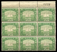 Lot 1 [3 of 3]:Aden 1937 KGVI Pictorials ½a (marginal), 2½a & 3½a (one stamp torn) blocks of 9, mild gum toning, majority of units MUH, Cat £190+. (3 blks)