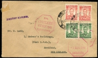 Lot 10 [5 of 9]:British Africa with KUT 1953 airmail to Australia with KGVI 2/-, 1/- & 30c strip of 3, 1961 registered airmail cover to Jamaica with 1/- Mt Kenya blocks of 4 x2 & pair plus 30c Gazelle pair tied by Kiabakari datestamps; Southern Rhodesia 1943 Raylton registered FDC with 2d Matabeleland Anniv strip of 3; Northern Rhodesia 1949 UPU illustrated FDC; Rhodesia 1967 covers x5 with 'INSUFFICIENT POSTAGE FOR AIRMAIL/FORWARDED BY SURFACE MAIL' handstamps, 1960s FDCs etc. Nice mix of commercial & philatelic material. (38)