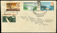 Lot 10 [8 of 9]:British Africa with KUT 1953 airmail to Australia with KGVI 2/-, 1/- & 30c strip of 3, 1961 registered airmail cover to Jamaica with 1/- Mt Kenya blocks of 4 x2 & pair plus 30c Gazelle pair tied by Kiabakari datestamps; Southern Rhodesia 1943 Raylton registered FDC with 2d Matabeleland Anniv strip of 3; Northern Rhodesia 1949 UPU illustrated FDC; Rhodesia 1967 covers x5 with 'INSUFFICIENT POSTAGE FOR AIRMAIL/FORWARDED BY SURFACE MAIL' handstamps, 1960s FDCs etc. Nice mix of commercial & philatelic material. (38)