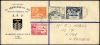 Lot 10 [9 of 9]:British Africa with KUT 1953 airmail to Australia with KGVI 2/-, 1/- & 30c strip of 3, 1961 registered airmail cover to Jamaica with 1/- Mt Kenya blocks of 4 x2 & pair plus 30c Gazelle pair tied by Kiabakari datestamps; Southern Rhodesia 1943 Raylton registered FDC with 2d Matabeleland Anniv strip of 3; Northern Rhodesia 1949 UPU illustrated FDC; Rhodesia 1967 covers x5 with 'INSUFFICIENT POSTAGE FOR AIRMAIL/FORWARDED BY SURFACE MAIL' handstamps, 1960s FDCs etc. Nice mix of commercial & philatelic material. (38)