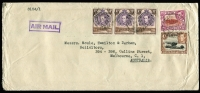 Lot 10 [1 of 9]:British Africa with KUT 1953 airmail to Australia with KGVI 2/-, 1/- & 30c strip of 3, 1961 registered airmail cover to Jamaica with 1/- Mt Kenya blocks of 4 x2 & pair plus 30c Gazelle pair tied by Kiabakari datestamps; Southern Rhodesia 1943 Raylton registered FDC with 2d Matabeleland Anniv strip of 3; Northern Rhodesia 1949 UPU illustrated FDC; Rhodesia 1967 covers x5 with 'INSUFFICIENT POSTAGE FOR AIRMAIL/FORWARDED BY SURFACE MAIL' handstamps, 1960s FDCs etc. Nice mix of commercial & philatelic material. (38)