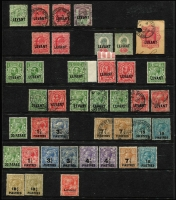 Lot 12 [3 of 3]:British Levant 1867-1921 array on Hagners, mostly used including 1867 QV 1/- Pl 4 with 'C' in-bars cancel, 1888 12pi on 2/6d White paper, 1902-05 KEVII 24pi on 5/-, 1909 set mint (ex 1pi10pa on 4d green & brown), KGV to 18¾ on 1/- x2 mint including British Field Office in Salonica 'Levant' overprint on 1d (SG #S2), duplication of commmoner values, plenty of handy pickings, condition variable. (120+)