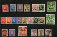 Lot 13 [3 of 5]:British Occupation Of Italian Colonies with Middle East Forces 1942 2d orange with Type M2a (round stops ovpt) mint, 1943-47 KGVI set mint, plus used set (ex 5/-), 1942 postage dues set mint plus ½d, 1d & 3d used; Eritrea 1948-49 optd 'B.M.A./ERITREA' 2/6d to 10/- mint & used, 1951 'B.A./ERITREA' set mint; Somalia 1943-46 'E.A.F' set mint & used (ex 2d & 1/-), also BPA in Eastern Arabia to 5/- x2 mint & used, with duplicated lower values; condition variable, mostly fine. (170)