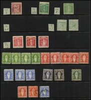 Lot 14 [1 of 3]:British Virgin Islands 1866-1965 Array including 1866 6d crude but attractive forgery 'used', Toned paper 1d green P12 unused, 1867-70 1d blue-green P15 unused, 1899 ½d to 7d (ex 4d) mint/unused, KEVII 1904 to 1/- & 5/- mint, KGV odds to 6d, KGVI 1938-47 set mint, etc; condition mostly fine, Cat £300+. (90)