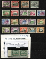 Lot 21 [2 of 4]:Dominica 1877-1938 Selection mostly mint with QV including 1886 ½d on 6d mint, View of Roseau 1903 duplicated to 6d and 1907-08 to 3d plus KEVII 5/-, 1908-21 6d View optd 'SPECIMEN', 1916-20 War Tax group including ½d on 1d variety Small 'O' in 'ONE' in pair with normal (RPSL Cert), 1921-22 Views Script CA set mint (2d is used) plus extra 6d used, KGVI 1938 ½d to 10/- used, plus few mint including 10/-, condition generaly fine, Cat £450+. (90)