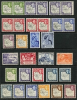 Lot 28 [3 of 3]:Falkland Islands & Dependencies KGVI/early QEII era with Falklands 1938-50 KGVI 2/6d Penguins x2 & £1 Arms (Cat £60) used, 1949 UPU MUH; Dependencies 1944-45 Overprints set of 32 used, Thick Map 6d black & ochre used (Cat £95), ½d to 3d mint pairs with Gap in 80th parallel, Thin Map set mint (ex 4d) including 2½d & 3d Murray Payne listed shades & 1949 UPU set VFU; condition generally fine. (94)