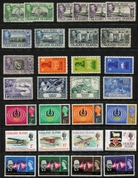 Lot 28 [1 of 3]:Falkland Islands & Dependencies KGVI/early QEII era with Falklands 1938-50 KGVI 2/6d Penguins x2 & £1 Arms (Cat £60) used, 1949 UPU MUH; Dependencies 1944-45 Overprints set of 32 used, Thick Map 6d black & ochre used (Cat £95), ½d to 3d mint pairs with Gap in 80th parallel, Thin Map set mint (ex 4d) including 2½d & 3d Murray Payne listed shades & 1949 UPU set VFU; condition generally fine. (94)