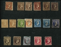 Lot 39:Greece 1860s-80s Hermes Heads small selection on Hagner, values to 30l x3, 40l & 80l x2, margins variable, some complete, condition variable. (18)