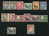Lot 48 [2 of 3]:KUT 1954-59 & 1960-62 QEII Pictorial sets, SG #167-80 & 183-98, the latter set including some shades, first set MUH, 2nd set higher values mounted. (39)