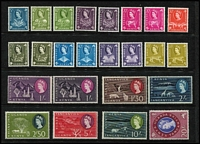 Lot 48 [3 of 3]:KUT 1954-59 & 1960-62 QEII Pictorial sets, SG #167-80 & 183-98, the latter set including some shades, first set MUH, 2nd set higher values mounted. (39)