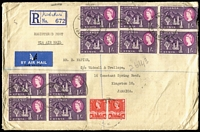 Lot 28 [1 of 2]:KUT 1961 (May 19) Tangold Mining Co Ltd registered commercial airmail cover to Jamaica with 1/- Mt Kenya blocks of 4 x2 & pair plus 30c Gazelle pair tied by Kiabakari datestamps, backstamp transits for Musoma, Nairobi & London plus Half Way Tree (Jamaica) arrival datestamp. Scarce origin/destination.