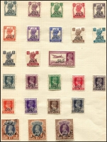 Lot 53:Muscat 1944 Overprints on India Postage & Officials sets SG #1-15 & #O1-O10 mounted mint on album page, Cat £58. (25)