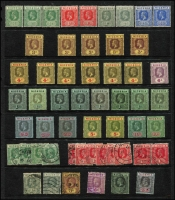 Lot 55 [1 of 3]:Nigeria 1914-51 Accumulation with KGV 1914-29 MCA mint to 2/6d x3, 5/- x2 & 10/- x2 including 3d, 4d & 1/- shades, 1936 Pictorials used to 1/-, KGVI 1938-51 mint to 2/6d x2 & 5/- including 4d orange, used to 2/6d x6 & 5/- x7 including P13x11½ for each value, 1948 Silver Wedding mint, condition a bit variable, mostly fine. (180+)
