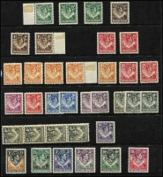 Lot 57 [1 of 2]:Northern Rhodesia 1925-53 Array with KGV used oddment to 6d, KGVI 1938-52 incomplete mint set including 2/6d to 20/-, and used to 2/6d including 1½d yellow-brown Tick bird (red crayon cancel), condition mostly fine, Cat £250+. (88)