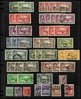 Lot 69:Sierra Leone 1896-1944 Used Array with 1896-97 QV 4d, KGV 1932 1/-; KGVI 1934-44 with duplication to 5/- x3, 10/- x2 & £1; generally fine. Cat £160+. (48)