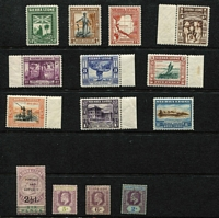 Lot 70 [2 of 4]:Sierra Leone 1897-1961 Mint Array with 1897 QV 2½d on 6d SG #59, KEVII 1907-12 2/-, KGV 1912-21 MCA to 2/- & 5/- with a few duplicates, 1921-27 Script CA 2/- x2, 1933 Centenary ½d to 2/-, 1938 KGVI part set including 5/- & £1, QEII 1956-61 to 5/- & 10/- x2 MUH; condition generally fine, Cat £325+. (83)