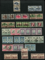 Lot 72 [2 of 4]:South-West Africa 1923-1953 mint & used array on Hagners with plenty of better items including 1927-30 1d to 10/- (ex 5/-) bilingual pairs mint (Cat £150+), 1931 Pictorials 2/6d, 5/- (x2), 10/- & 20/- pairs used, 1935 Voortrekker mint & used sets, 1938 Voortrekker mint (Cat £110) & used (Cat £160) sets, 1943-44 Reduced Size War Effort set mint; Officials bilingual pairs mint including 1945-50 set (ex 2d) & 1951-52 set, also a few dues; some duplication, condition a bit mixed, however plenty are fine, high catalogue value. (few 100s)