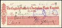 Lot 156 [3 of 6]:South Australia bundle of 1860s-80s cheques x12 drawn on the English, Scottish & Australian Chartered Bank mostly at Clare branch, a couple at Adelaide; also 1960s-70s cheques x4 drawn on banks in SA x3 or NSW; also two overseas 1960s cheques. (19)