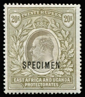 Lot 1442:1903-04 KEVII Wmk Crown CC 20r grey & stone optd 'SPECIMEN' SG #15s, fine mint, Cat £180.
