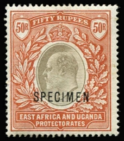 Lot 1443:1903-04 KEVII Wmk Crown CC 50r grey & red-brown optd 'SPECIMEN' SG #16s, fine mint, Cat £450.