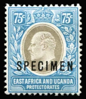 Lot 1444 [1 of 2]:1907-08 KEVII Wmk MCA 1c to 75c optd 'SPECIMEN' set SG #34s-42s, fine mint, Cat £250. (9)