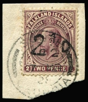 Lot 1447:1928 2½d On 2d Purple-Brown South Georgia provisional SG #115, tied to small piece by 'SOUTH GEORGIA/7FE/28' FDI datestamp, Cat £1,300. RPSL Certificate (1968).