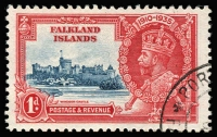 Lot 1448:1935 Silver Jubilee 1d deep blue & scarlet variety Flagstaff on right-hand turret SG #139d, very fine used, Cat £350. Scarce.