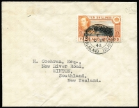 Lot 1452:1938-50 KGVI Pictorials 10/- black & orange-brown SG #162 tied by Port Stanley '9DE/43' datestamp to cover addressed to New Zealand. Fine condition.