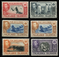 Lot 1450 [2 of 4]:1938-50 KGVI Pictorials ½d to £1 set SG #146-63 with 5/- x3 including steel blue & buff-brown (thin paper) shade (Cat £400), plus other lower denomination shades including 1/-, fine mint with many MLH/MVLH, Cat £1,000+. (26)